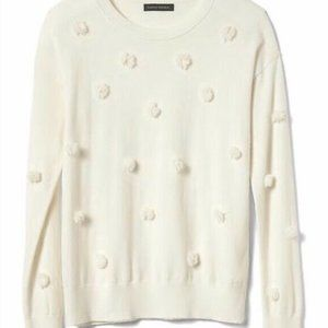 Banana Republic Ivory Pom Pom Sweater